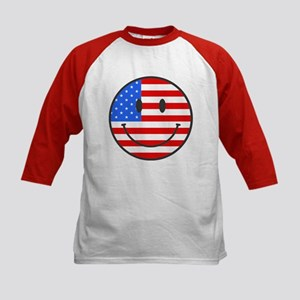 Smiley Face Fourth Of July Kids Baseball Jersey
