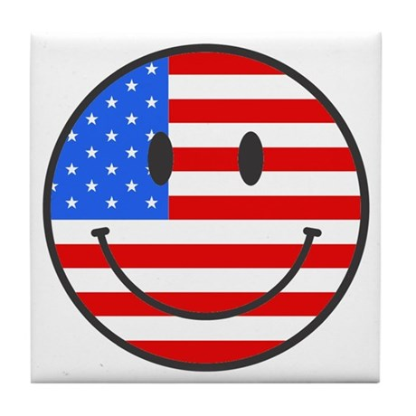 Smiley Face Fourth Of July Tile Coaster
