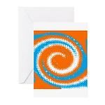 Orange Blue White Spread Greeting Cards