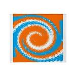 Orange Blue White Spread Throw Blanket
