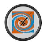 Orange Blue White Spread Large Wall Clock