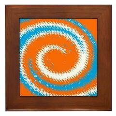 Orange Blue White Spread Framed Tile