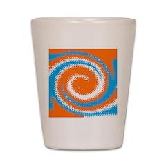 Orange Blue White Spread Shot Glass