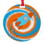 Orange and Blue Rocket Ship Ornament