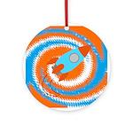 Orange and Blue Rocket Ship Ornament (Round)
