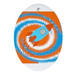 Orange and Blue Rocket Ship Ornament (Oval)
