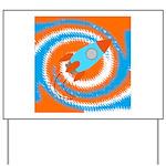 Orange and Blue Rocket Ship Yard Sign