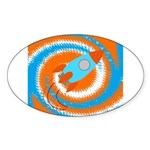 Orange and Blue Rocket Ship Sticker