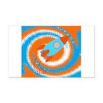 Orange and Blue Rocket Ship Rectangle Car Magnet