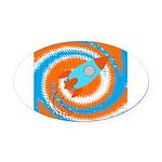 Orange and Blue Rocket Ship Oval Car Magnet