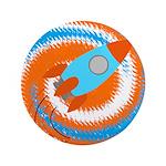 Orange and Blue Rocket Ship 3.5