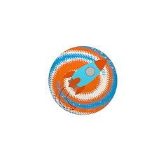 Orange and Blue Rocket Ship Mini Button (100 pack)