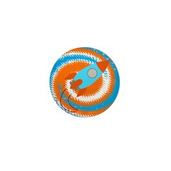 Orange and Blue Rocket Ship Mini Button (10 pack)