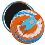 Orange and Blue Rocket Ship Magnets