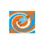 Orange and Blue Rocket Ship Wall Decal