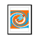 Orange and Blue Rocket Ship Framed Panel Print