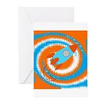 Orange and Blue Rocket Ship Greeting Cards