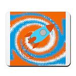 Orange and Blue Rocket Ship Mousepad