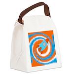 Orange and Blue Rocket Ship Canvas Lunch Bag