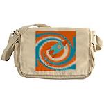 Orange and Blue Rocket Ship Messenger Bag