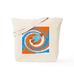 Orange and Blue Rocket Ship Tote Bag