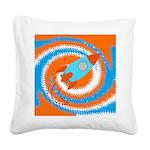 Orange and Blue Rocket Ship Square Canvas Pillow