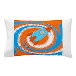 Orange and Blue Rocket Ship Pillow Case