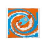 Orange and Blue Rocket Ship Throw Blanket