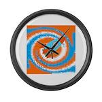 Orange and Blue Rocket Ship Large Wall Clock