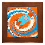 Orange and Blue Rocket Ship Framed Tile