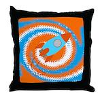 Orange and Blue Rocket Ship Throw Pillow