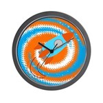 Orange and Blue Rocket Ship Wall Clock