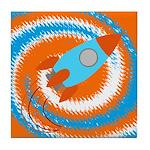 Orange and Blue Rocket Ship Tile Coaster
