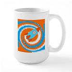 Orange and Blue Rocket Ship Mugs