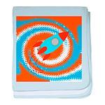 Orange and Blue Rocket Ship baby blanket