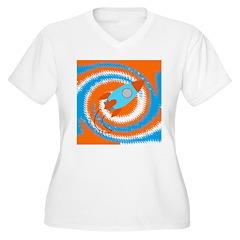 Orange and Blue Rocket Ship Plus Size T-Shirt