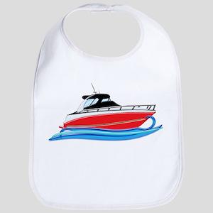 Sleek Red Yacht in Blue Waves Bib