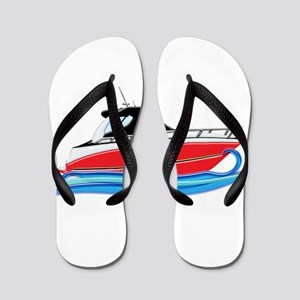 Sleek Red Yacht in Blue Waves Flip Flops