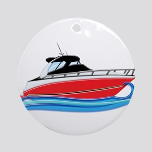 Sleek Red Yacht in Blue Waves Ornament (Round)
