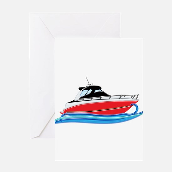 Sleek Red Yacht in Blue Waves Greeting Cards