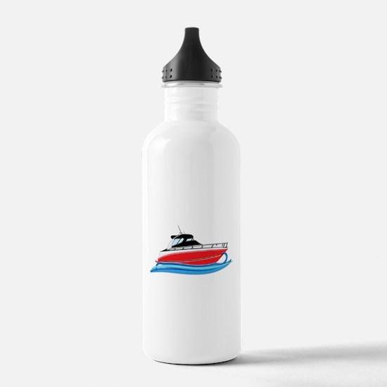 Sleek Red Yacht in Blu Water Bottle