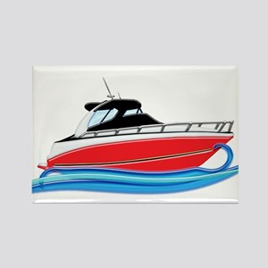 Sleek Red Yacht in Blue Waves Magnets