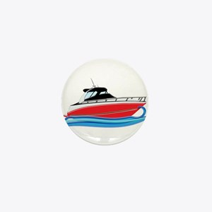 Sleek Red Yacht in Blue Waves Mini Button