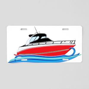 Sleek Red Yacht in Blue Wav Aluminum License Plate