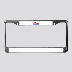 Sleek Red Yacht in Blue Waves License Plate Frame