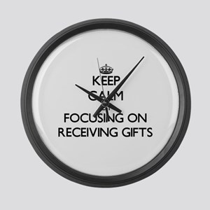 Keep Calm by focusing on Receivin Large Wall Clock