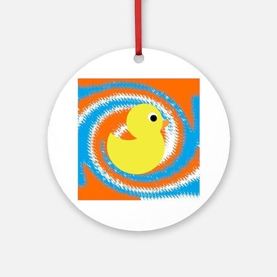 Rubber Duck Orange Blue Ornament (Round)