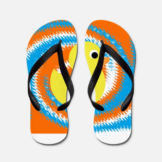 Rubber Duck Orange Blue Flip Flops