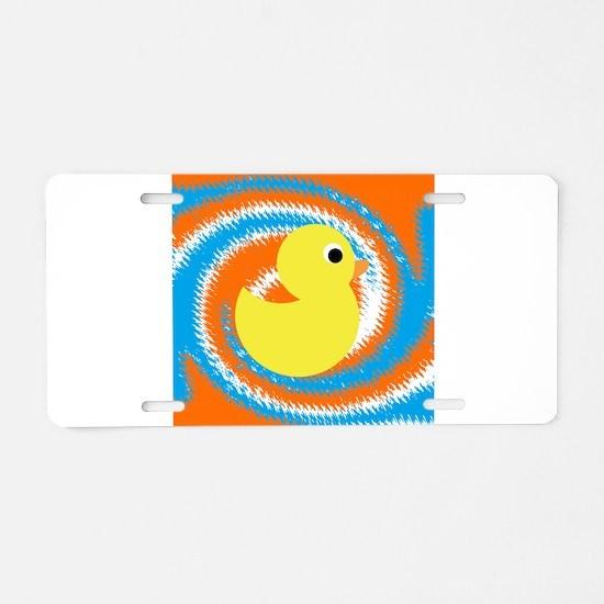 Rubber Duck Orange Blue Aluminum License Plate