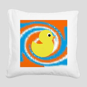 Rubber Duck Orange Blue Square Canvas Pillow